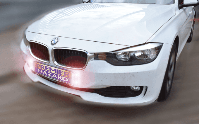 Number plate warning LED BMW
